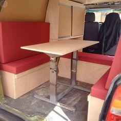 Image result for custom camper van fiat ducato Custom Camper Vans, Custom Campers, Volkswagen Caddy, Fiat Ducato, Ford, Motorhome, Desk, Cabinet, Storage