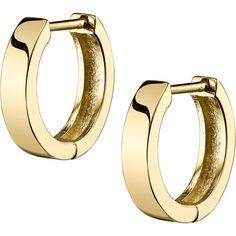Seni FINE Hoop Earrings ($459) ❤ liked on Polyvore featuring jewelry, earrings, gold hoop earrings, 14k yellow gold earrings, square earrings, polish jewelry and hoop earrings