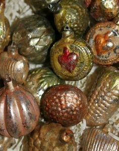 treasures from Christmases Past.....vintage ornaments....= layered with memories & patina... Christmas love!