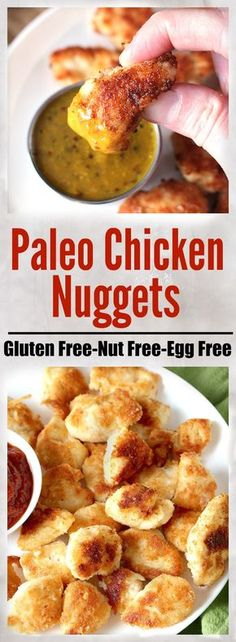 Paleo Chicken Nuggets- easy, delicious, and healthy. Crispy on the outside, juicy on the inside. Nut free, dairy free, and egg free.