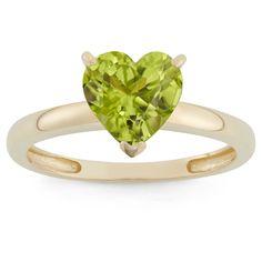 1 3/4 Tcw Tiara Heart-cut Peridot Ring in 10k Yellow Gold - (8)