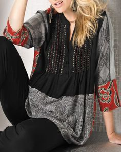 Ulla Popken NAVY Kaftan Sleeve Printed Kimono Plus Size 16//18 to 36//38