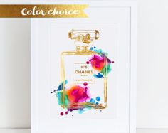 Fashion perfume art print watercolor Mint watercolour blue
