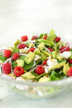 A Fresh Summer Salad. Mixed greens, avocado, Raspberries, red onion, walnuts, tilapia, and fresh raspberry vinaigrette recipe included   http://www.bloglovin.com/frame?post=3104610987&group=0&frame_type=a&blog=11358963&frame=1&click=0&user=0