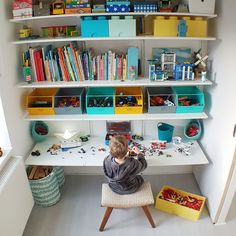 Ideas kids room yellow blue for 2019 Ikea Algot, Baby Room Design, Baby Room Decor, Deco Lego, Lego Room, Lego Desk, Kid Desk, Ikea Kids Desk, Room Organization