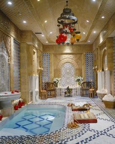 Hammam (Turkish Bath) with fountains and artisanal tile work in this home in Bel Air, Los Angeles. [OS][1000x1256]