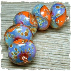 Summer Sunset -  5 Glass Artisan Boro Lampwork Beads, Already made, BHV