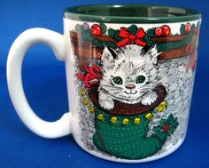 Christmas Mug Stockings Puppies Kitten Christmas Mischief Potpourri Press Green Interior Holiday Party Christmas by RuthsBargains on Etsy