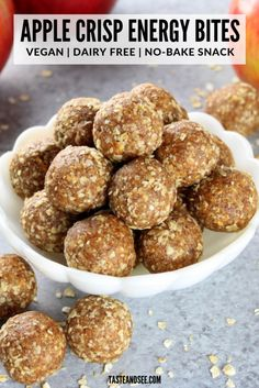 These Apple Crisp Energy Bites are the perfect snack! – Anne These Apple Crisp Energy Bites are the perfect snack! These Apple Crisp Energy Bites are the perfect snack! Protein Dinner, Healthy Protein Snacks, Healthy Recipes, Apple Recipe Healthy, Apple Recipes Healthy Clean Eating, Paleo Protein Balls, Healthy Bedtime Snacks, Healthy Homemade Snacks, Nutritious Snacks