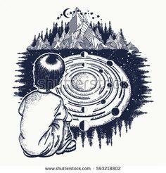 Dreamer tattoo art. Ingenious boy studies solar system. Symbol of the Universe, galaxy, science, education. Pensive child looks at Universe t-shirt design