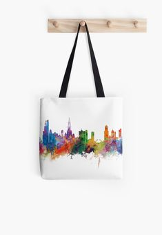 Chicago   #chicago #skyline #cityscape #landscape #art #print #women #tote #bag #gift #ideas #unitedstates #usa #city #illinois #architecture #colorful #watercolor #tower #circuit #panorama #urban #abstract #minimalist