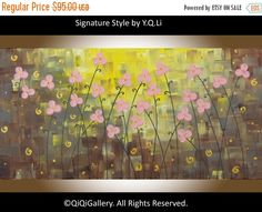 Original oil abstract landscape painting office by QiQiGallery