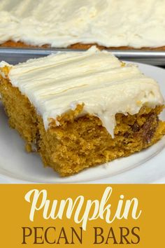 This easy pumpkin recipe with cream cheese icing and pecans has been a long-time family favorite! Pecan Pumpkin Bars with Cream Cheese Icing will satisfy your cravings for a pumpkin dessert with rich frosting! The big sheet pan makes enough to share at a party or for your family to enjoy for several days. Cream Cheese Bars, Cream Cheese Recipes, Recipe Using Pumpkin, Pumpkin Recipes, Pumpkin Bars, Pumpkin Dessert, Easy Thanksgiving Recipes, Fall Recipes, Easy Cake Recipes