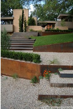Corten steel raised beds - good way to deal with our slopes? Like the gravel and grass idea too