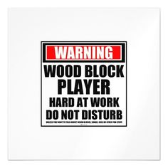 Warning Wood Block Player Hard At Work Magnetic Card Custom Office Party Invitations #office #partyplanning