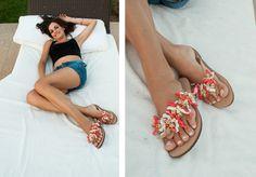 Summer Hit Coral Flip-flop! Summer pleasure with corals!! BonbonSandals