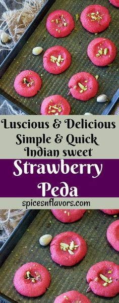 strawberry peda indian peda recipe indian sweets indian festival recipes new year recipes peda indian desserts easy indian recipe strawberry indian recipe Dessert Cake Recipes, Easy Desserts, Snack Recipes, Fruit Recipes, Chicken Recipes, Indian Desserts, Indian Sweets, Indian Snacks, Strawberry Cakes