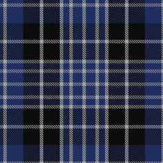 Tartan image: Clark----This is woven by Lochcarron and sold as Clark. The same sett but with the first pivot (Blue8) changed to Black8 is sold as Clergy. See that at #1221 (original Scottish Tartans Authority reference). Blue is not quite right in this graphic. Lochcarron swatch