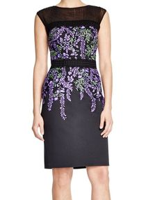 Tadashi Shoji NEW Purple Womens Size 16 Floral Embroidered Sheath Dress $359 227 #TadashiShoji #Sheath #Cocktail