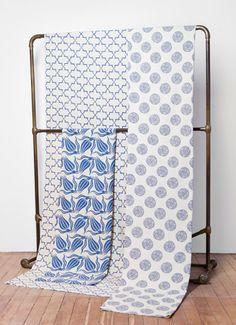 Indigo block prints, lovely mix. Madeline Weinrib - Blockprint - Fabrics