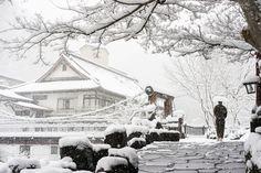 Snow falling at traditional hot spring Ryokan, Gunma, Japan   Flickr - Photo Sharing!