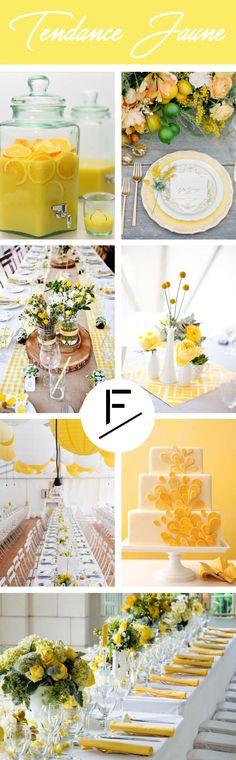 Envie d'une décoration couleur jaune pour votre mariage ? Découvrez notre planche d'inspiration sur les tons Jaune & Blanc pour une table aux couleurs vitaminées !