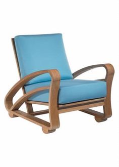 Cuba Lounge Chair Hand Finished Teak with Blue Sunbrella Fabric-COM Available-4 week lead time 4 yards Seat Height=18
