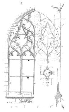 Meneaux fenetre XVe siecle Plus Sketchbook Architecture, Gothic Architecture Drawing, Architecture Cool, Historical Architecture, Architecture Student, Gothic Windows, Technical Drawing, Architectural Elements, Painting