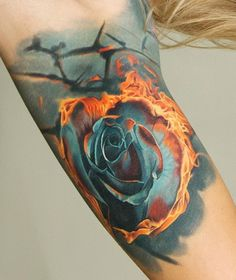 Rose on Fire Tattoo
