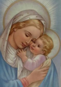 Blessed Holy Mother Mary and her child Jesus. Jesus Mother, Blessed Mother Mary, Blessed Virgin Mary, Baby Jesus, Religious Pictures, Religious Art, Images Of Mary, Queen Of Heaven, Sainte Marie