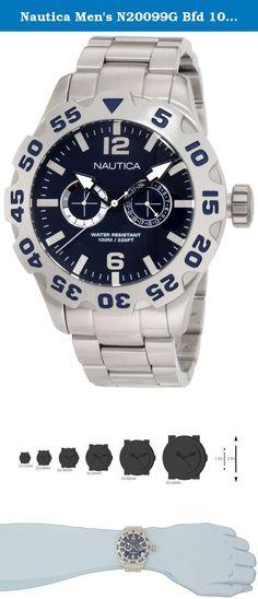 9a26f05db2257 Nautica Men's N20099G Bfd 100 Multi Watch. Casual watch, Japanese quartz  movement, Multifunction