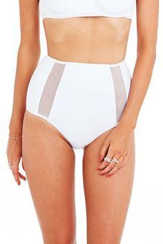White Monochrome Mesh High Waited Briefs : Buy Designer Dresses Online at Nookie