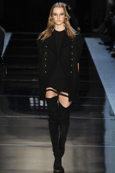 Alexandre Vauthier Spring 2016 Couture: A sexy dress with a cutout on the hem and thigh high suede boots paired with a military inspired coat is a great combination. I could see Alessandra Ambrosio in this outfit!