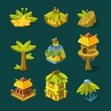 Video Game Tropical Forest Design Collection Of Elements Royalty Free Stock Photo