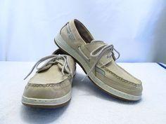 Mens Dock Side Boat Shoes Sebago Size 12M Beige Suede Taupe #Sebago #BoatShoes