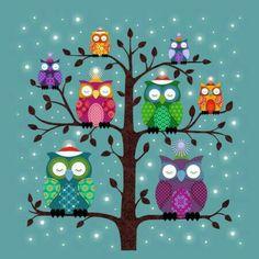 Modern Quilt Patterns, Owl Patterns, Christmas Owls, Christmas Cards, Good Night All, Frozen Wallpaper, Owl Wallpaper, Owl Quilts, Baby Quilts