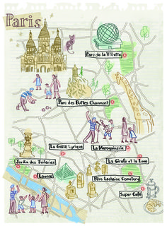 Paris map by Robert Littleford. October 2016 issue