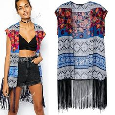 Casual Tassel Printing Retro Cape for Women Girl Ladies (S-L) DCD-379119