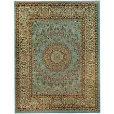 Free-form Seafoam Classic Border Rug - Overstock Shopping - Great Deals on 7x9 - 10x14 Rugs
