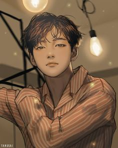 I dont know why but this Taehyung fanart looks like Jisung of Fanart Bts, Taehyung Fanart, Vkook Fanart, Bts Taehyung, Bts Anime, Anime Guys, Anime Lindo, Bts Drawings, Manga Boy