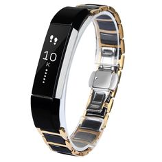 Amazon.com: V-Moro Metal Band Rose Gold Stainless Steel Ceramics Link Replacement Bands for Fitbit Alta (Ceramics Link Rose Gold Metal Band): Cell Phones & Accessories