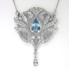 Art Deco Aquamarine & Diamond Pendant Necklace 18k