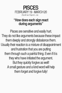 Pisces: #Pisces ~ How Does Each Sign React During Arguments?
