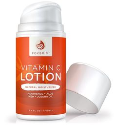Vitamin C Lotion - Natural Face Moisturizer - POWERFUL Antioxidants Vitamin C and Green Tea - Hydrating Jojoba Oil, Shea Butter - Restoring Panthenol and MSM - Foxbrim 3.4OZ ** Awesome product. Click the image : essential oils
