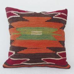 Orange Black Kilim Pillow Cover Decorative Green by Sheepsroad, $55.00