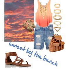 Sunset by the beach by q-griffin on Polyvore featuring polyvore fashion style MANGO Doucal's John Hardy Wallis Forever 21