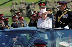 Her Majesty inspects the Royal Artillery today at Larkhill as Captain-General. MOD/