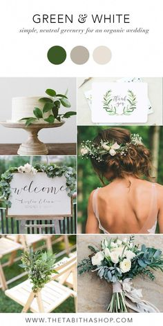 Green & White Color Inspiration for a Simple Neutral Wedding! Love the greenery and white color palette wedding flowers wildflowers Green & White Color Inspiration for a Simple, Neutral Wedding — Tabitha & Lace Neutral Wedding Colors, Spring Wedding Colors, Spring Colors, Wedding Colors Green, Spring Wedding Inspiration, Wedding Themes For Spring, Color Palette For Wedding, Wedding Ideas Green, Color Themes For Wedding