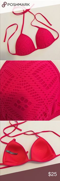 Aerie Neon Pink Bikini Top NWOT Good condition bikini top • very minor side push up • NWOT   • Offers Welcome • Bundle Discounts  • Suggested User • Fast Shipper aerie Swim Bikinis