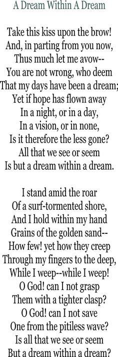 A Dream Within A Dream by Edgar Allan Poe.  http://annabelchaffer.com/
